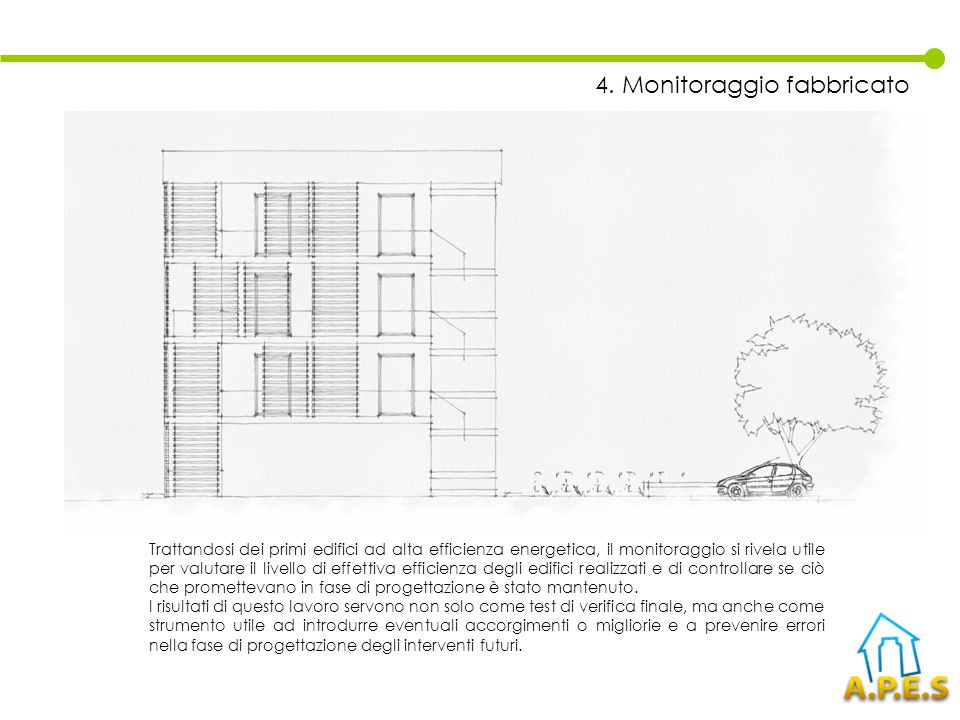 Trattandosi dei primi edifici ad alta efficienza energetica, il monitoraggio si rivela utile per valutare il livello di effettiva efficienza degli edi