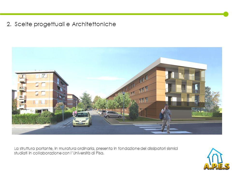 La struttura portante, in muratura ordinaria, presenta in fondazione dei dissipatori sismici studiati in collaborazione con lUniversità di Pisa. 2. Sc