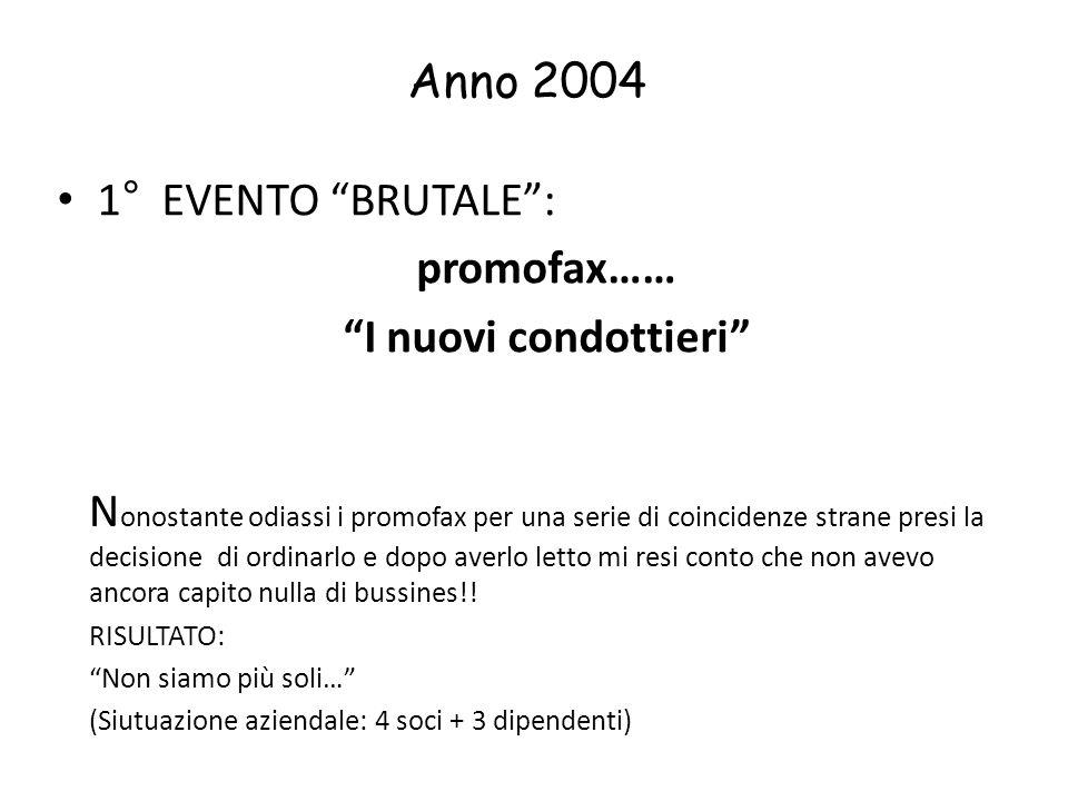 Anno 2004 1° EVENTO BRUTALE: promofax…… I nuovi condottieri N onostante odiassi i promofax per una serie di coincidenze strane presi la decisione di o