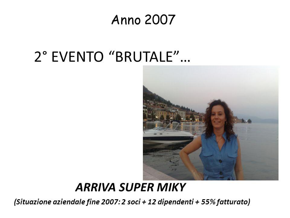 2° EVENTO BRUTALE… ARRIVA SUPER MIKY (Situazione aziendale fine 2007: 2 soci + 12 dipendenti + 55% fatturato) Anno 2007