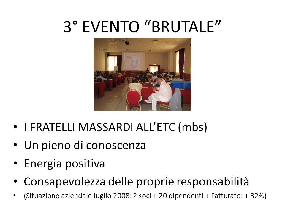 3° EVENTO BRUTALE I FRATELLI MASSARDI ALLETC (mbs) Un pieno di conoscenza Energia positiva Consapevolezza delle proprie responsabilità (Situazione azi