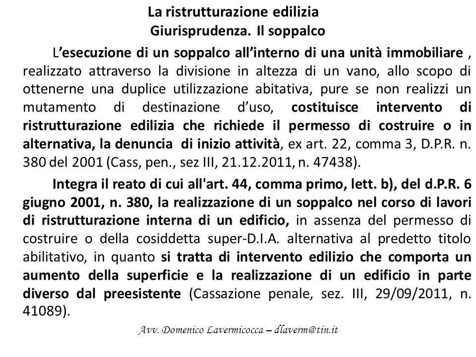 La ristrutturazione edilizia Giurisprudenza.