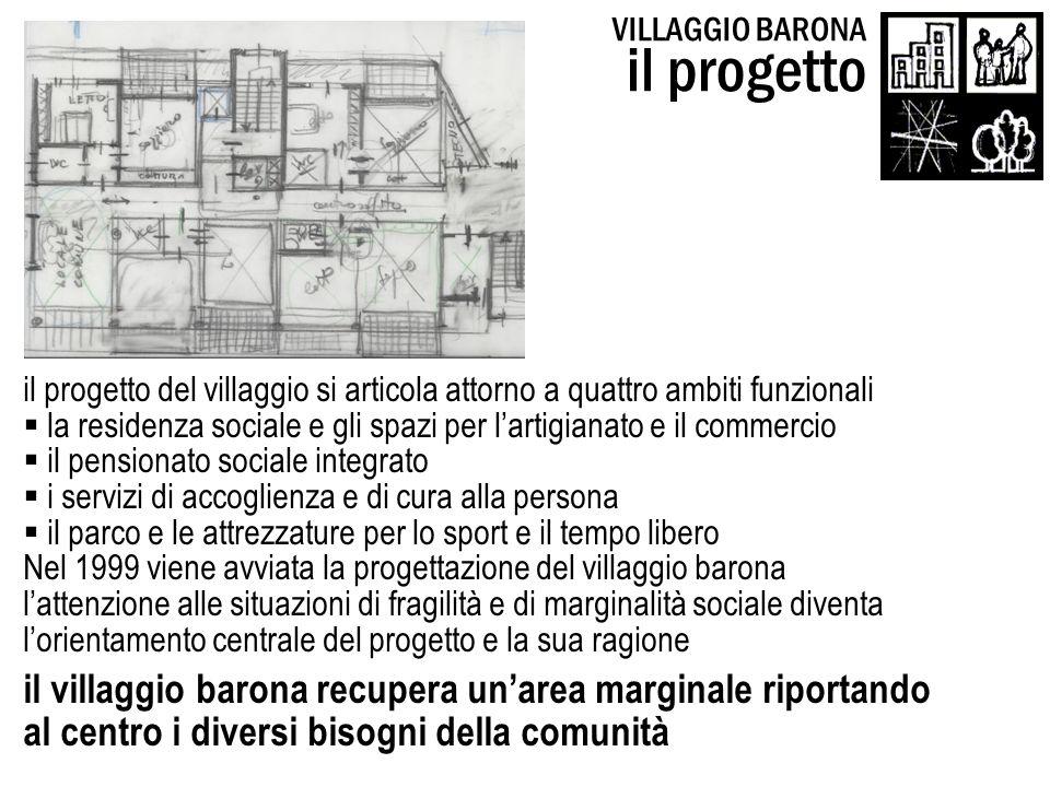 il progetto del villaggio si articola attorno a quattro ambiti funzionali la residenza sociale e gli spazi per lartigianato e il commercio il pensiona