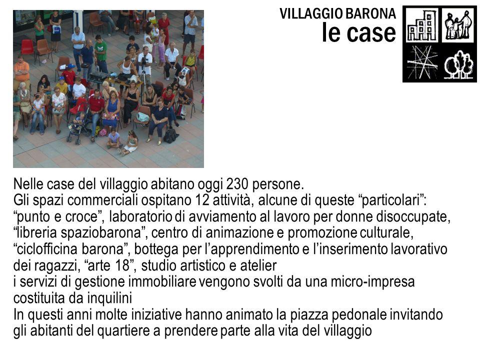 Nelle case del villaggio abitano oggi 230 persone. Gli spazi commerciali ospitano 12 attività, alcune di queste particolari: punto e croce, laboratori
