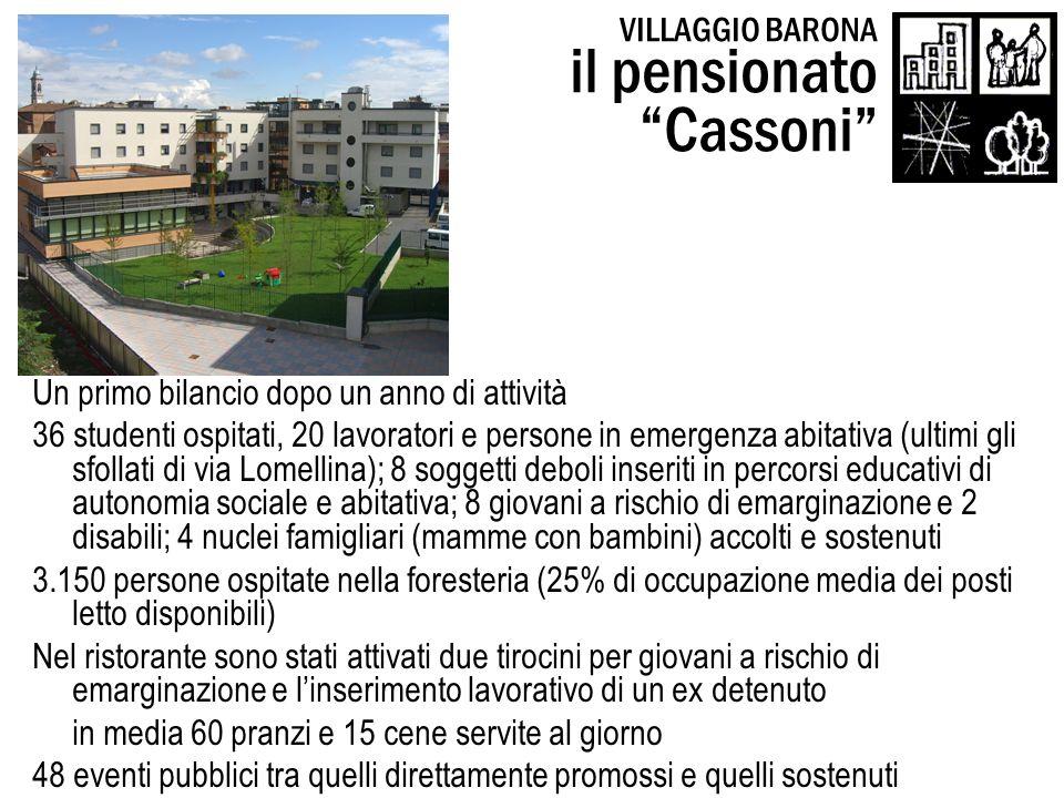 VILLAGGIO BARONA il pensionato Cassoni Un primo bilancio dopo un anno di attività 36 studenti ospitati, 20 lavoratori e persone in emergenza abitativa