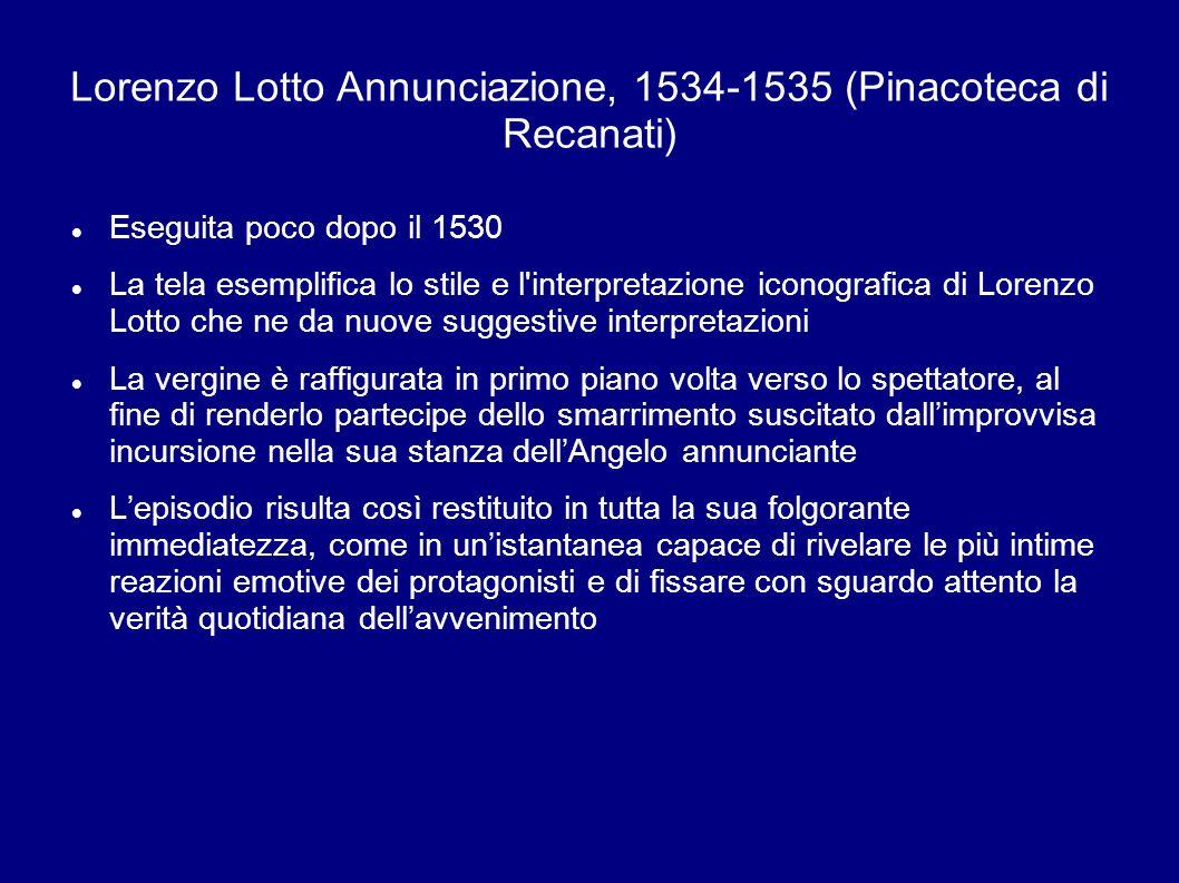 Eseguita poco dopo il 1530 La tela esemplifica lo stile e l'interpretazione iconografica di Lorenzo Lotto che ne da nuove suggestive interpretazioni L