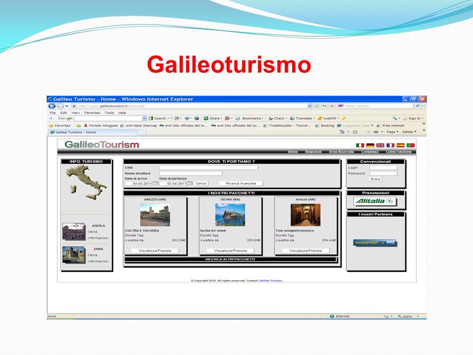 Galileoturismo è una piattaforma commerciale che opera in tempo reale e offre servizi per il turismo, consente la gestione alberghiera, la commercializzazione, anche attraverso la creazione di offerte vacanza, pacchetti turistici dinamici e tour.