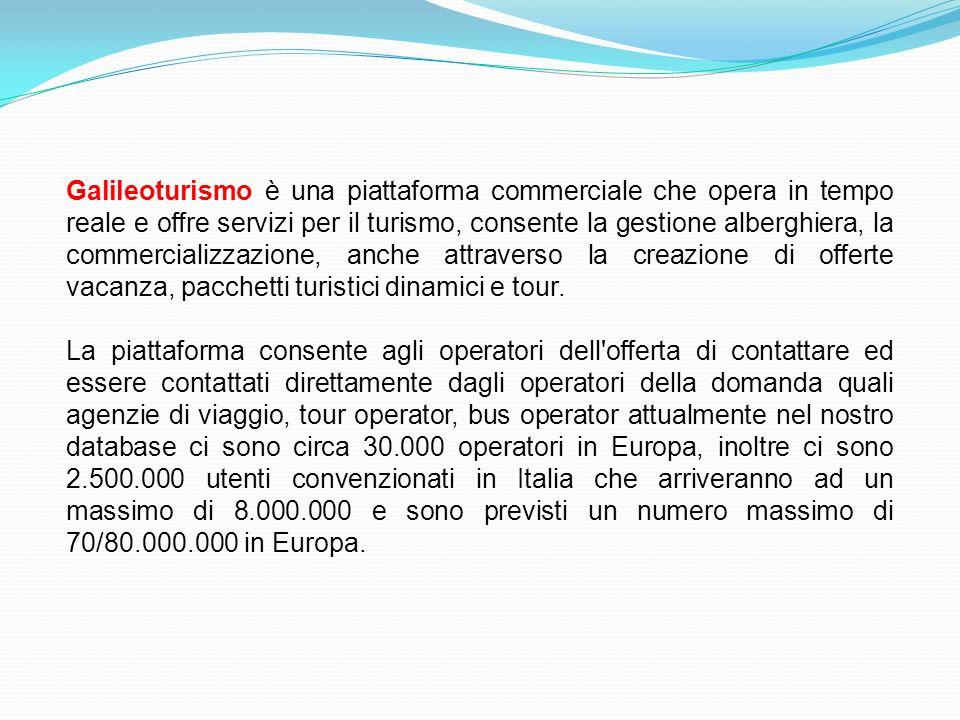 Galileoturismo è una piattaforma commerciale che opera in tempo reale e offre servizi per il turismo, consente la gestione alberghiera, la commerciali