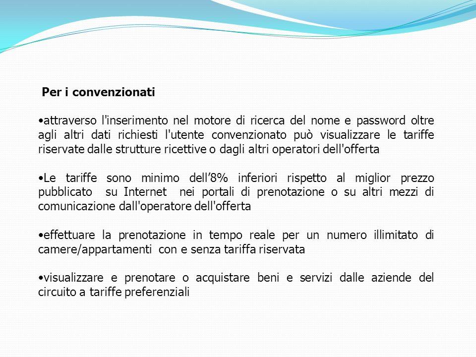 Per i convenzionati attraverso l'inserimento nel motore di ricerca del nome e password oltre agli altri dati richiesti l'utente convenzionato può visu