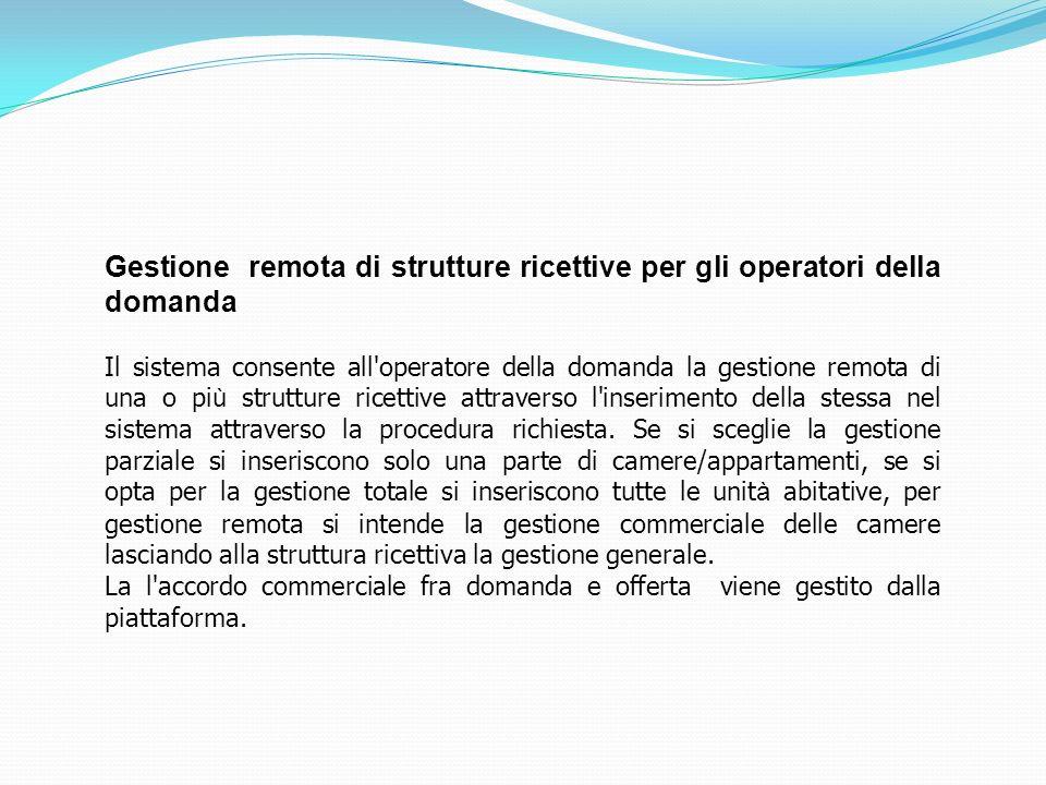 Gestione remota di strutture ricettive per gli operatori della domanda Il sistema consente all'operatore della domanda la gestione remota di una o pi