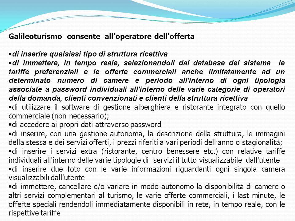 Galileoturismo consente all'operatore dell'offerta di inserire qualsiasi tipo di struttura ricettiva di immettere, in tempo reale, selezionandoli dal