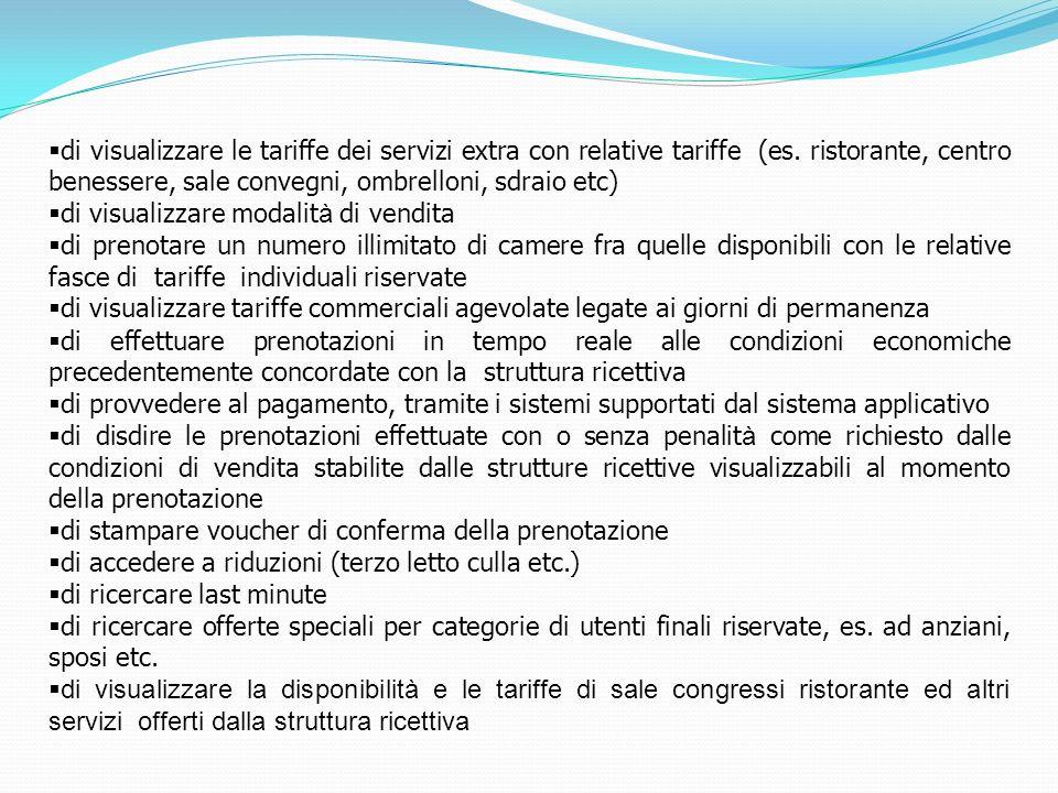 di visualizzare le tariffe dei servizi extra con relative tariffe (es. ristorante, centro benessere, sale convegni, ombrelloni, sdraio etc) di visuali