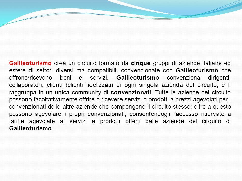 Galileoturismo crea un circuito formato da cinque gruppi di aziende italiane ed estere di settori diversi ma compatibili, convenzionate con Galileotur