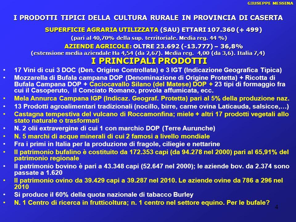 4 GIUSEPPE MESSINA I PRODOTTI TIPICI DELLA CULTURA RURALE IN PROVINCIA DI CASERTA SUPERFICIE AGRARIA UTILIZZATA (SAU) ETTARI 107.360 (+ 499) (pari al