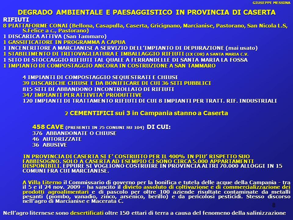8 GIUSEPPE MESSINA DEGRADO AMBIENTALE E PAESAGGISTICO IN PROVINCIA DI CASERTA RIFIUTI 8 PIATTAFORME CONAI (Bellona, Casapulla, Caserta, Gricignano, Ma