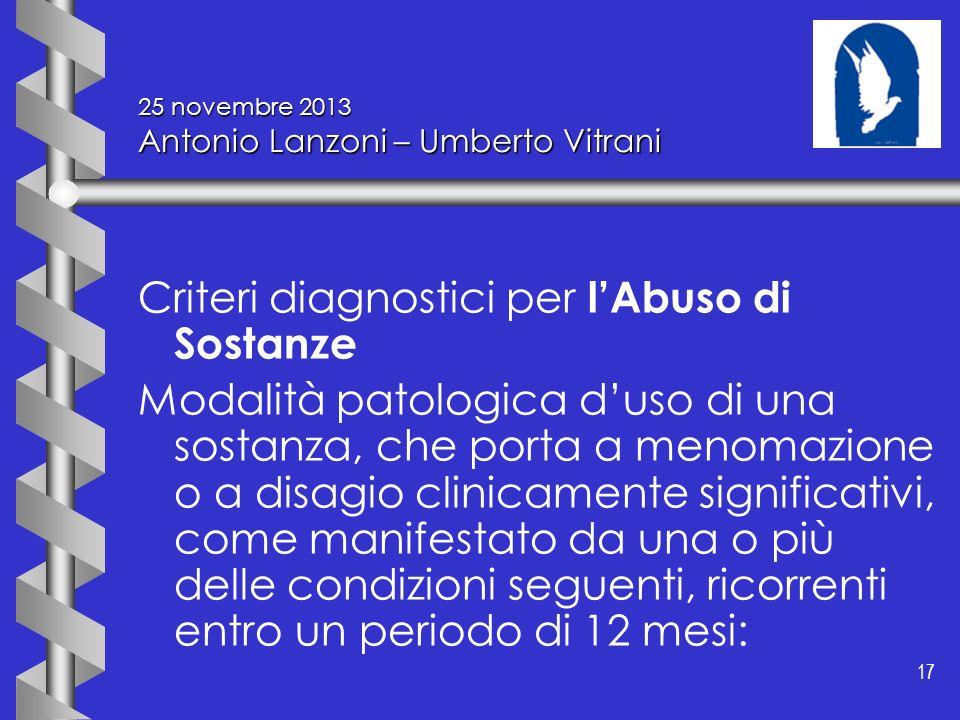 17 25 novembre 2013 Antonio Lanzoni – Umberto Vitrani Criteri diagnostici per lAbuso di Sostanze Modalità patologica duso di una sostanza, che porta a
