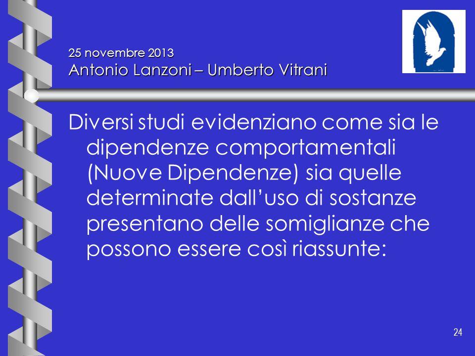 24 25 novembre 2013 Antonio Lanzoni – Umberto Vitrani Diversi studi evidenziano come sia le dipendenze comportamentali (Nuove Dipendenze) sia quelle d