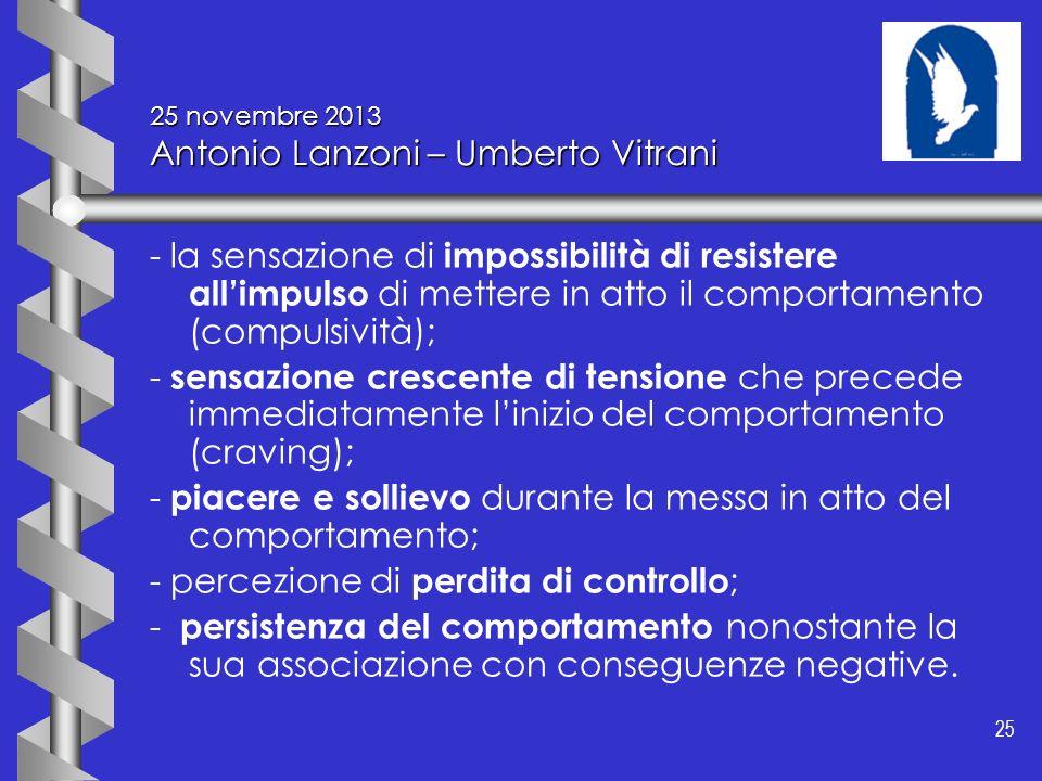 25 25 novembre 2013 Antonio Lanzoni – Umberto Vitrani - la sensazione di impossibilità di resistere allimpulso di mettere in atto il comportamento (co
