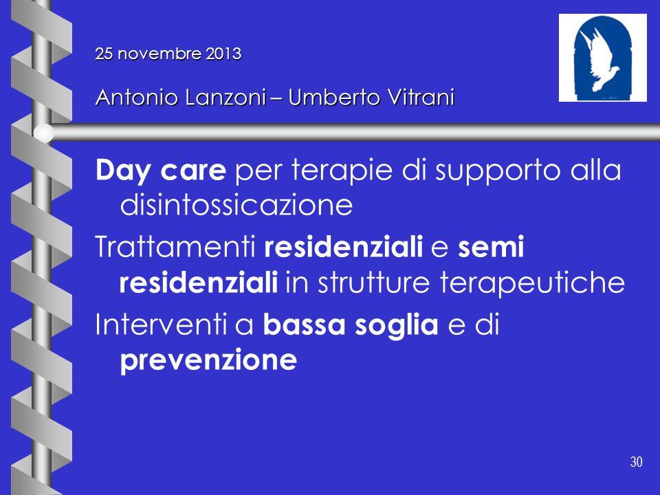 30 25 novembre 2013 Antonio Lanzoni – Umberto Vitrani Day care per terapie di supporto alla disintossicazione Trattamenti residenziali e semi residenz
