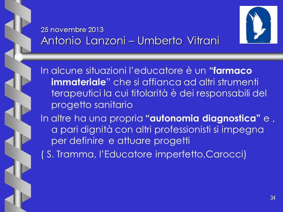 34 25 novembre 2013 Antonio Lanzoni – Umberto Vitrani In alcune situazioni leducatore è un farmaco immateriale che si affianca ad altri strumenti tera