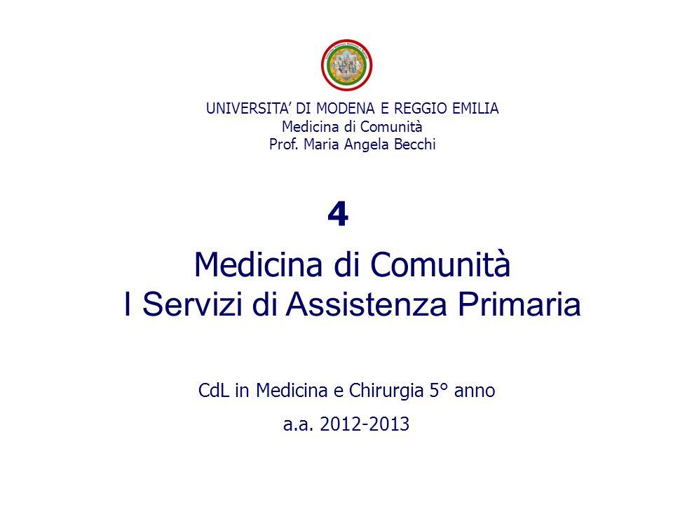 UNIVERSITA DI MODENA E REGGIO EMILIA Medicina di Comunità Prof. Maria Angela Becchi Medicina di Comunità I Servizi di Assistenza Primaria CdL in Medic