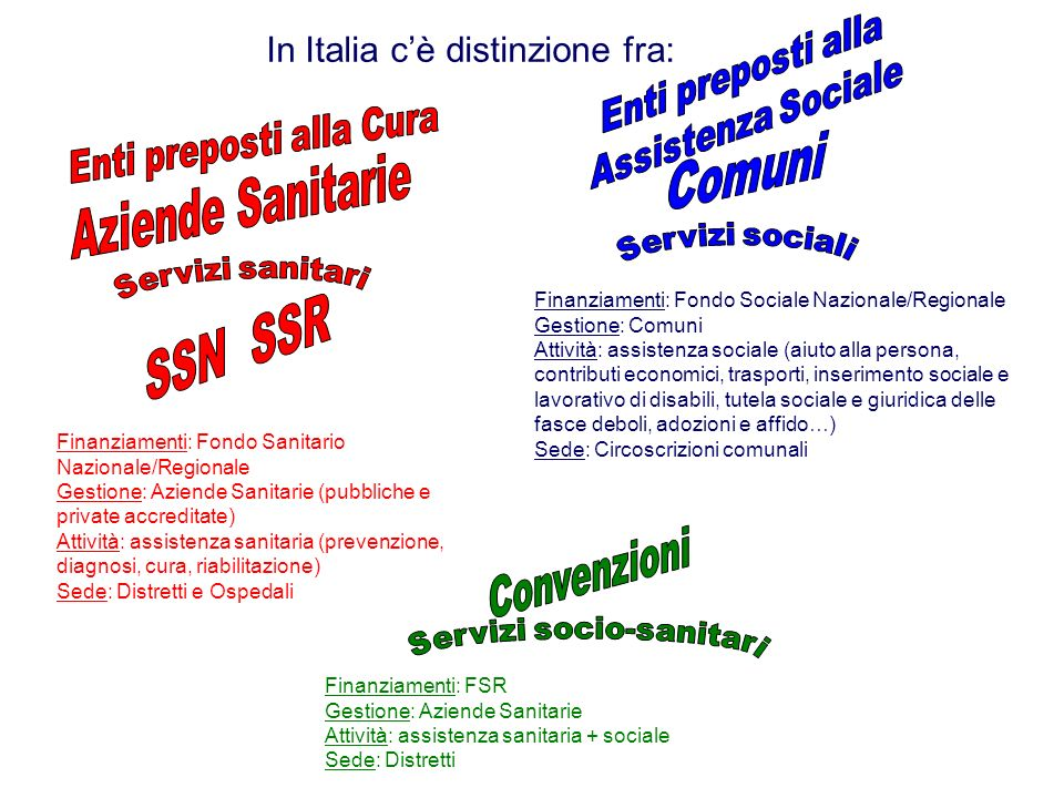 In Italia cè distinzione fra: Finanziamenti: FSR Gestione: Aziende Sanitarie Attività: assistenza sanitaria + sociale Sede: Distretti Finanziamenti: F