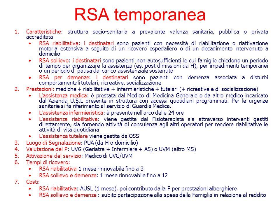 RSA temporanea 1.Caratteristiche: struttura socio-sanitaria a prevalente valenza sanitaria, pubblica o privata accreditata RSA riabilitativa: i destin