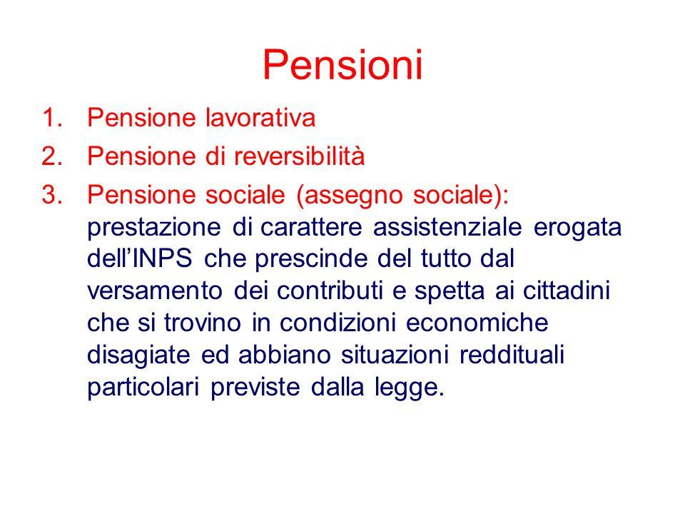Pensioni 1.Pensione lavorativa 2.Pensione di reversibilità 3.Pensione sociale (assegno sociale): prestazione di carattere assistenziale erogata dellIN