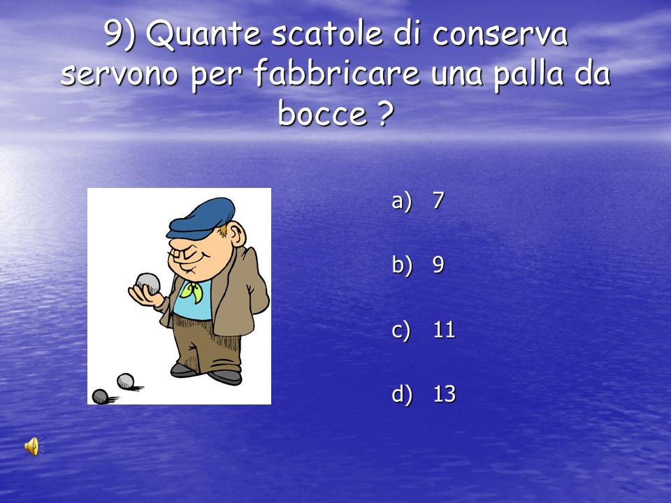 8) Quante scatole di conserva servono per fabbricare un carrello ? a) 550 a) 650 b) 750 c) 850