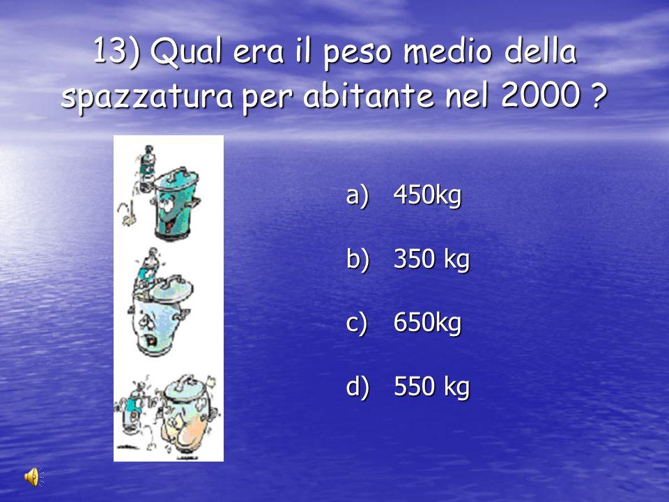 12 ) Tra questi prodotti quali sono i più pericolosi ? a) le bottiglie di vetro b) le batterie c) le lattine d alluminio d) le bottiglie di plastica