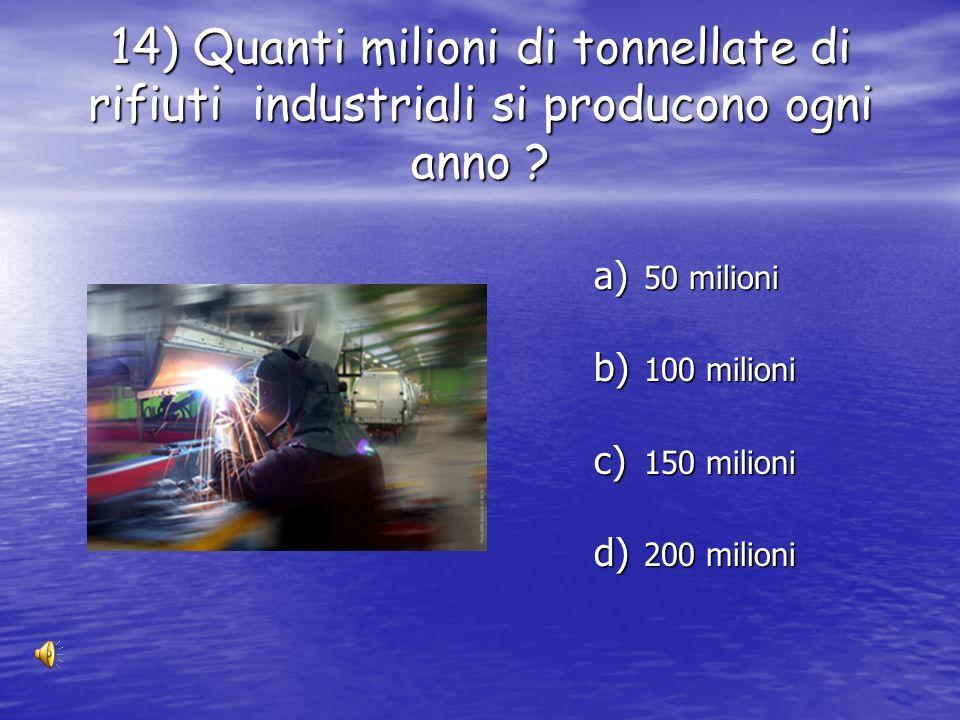 13) Qual era il peso medio della spazzatura per abitante nel 2000 ? a) 450kg b) 350 kg c) 650kg d) 550 kg