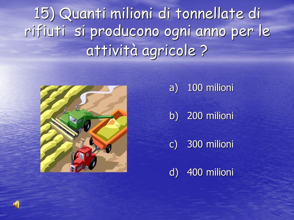 14) Quanti milioni di tonnellate di rifiuti industriali si producono ogni anno ? a) 50 milioni b) 100 milioni c) 150 milioni d) 200 milioni