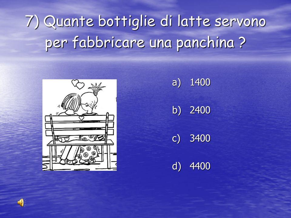 6) Quante bottiglie di plastica servono per fabbricare un piumone ? a) 4 a) 14 a) 24 a) 34