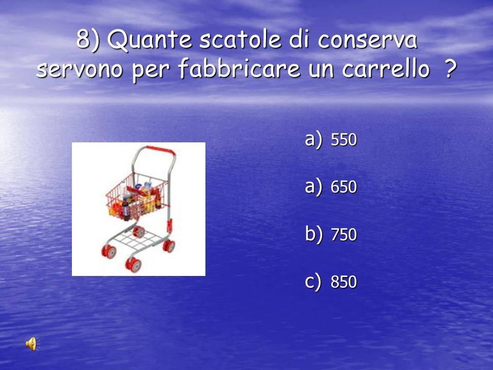 7) Quante bottiglie di latte servono per fabbricare una panchina ? a) 1400 b) 2400 c) 3400 d) 4400