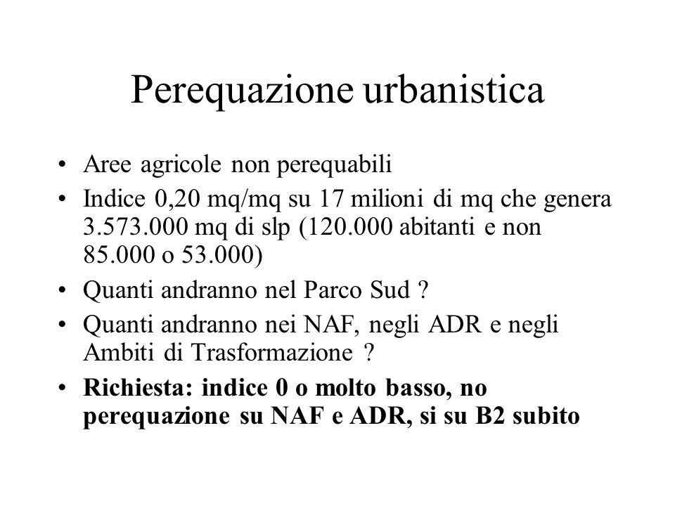 Perequazione urbanistica Aree agricole non perequabili Indice 0,20 mq/mq su 17 milioni di mq che genera 3.573.000 mq di slp (120.000 abitanti e non 85