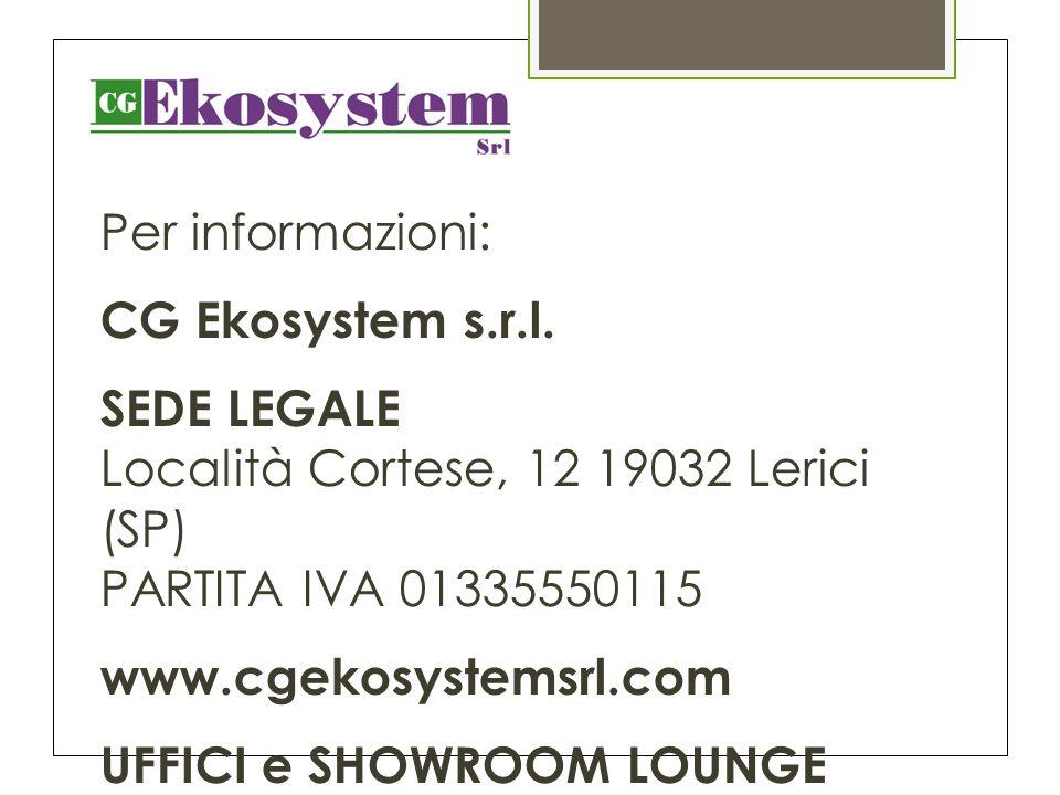Per informazioni: CG Ekosystem s.r.l.