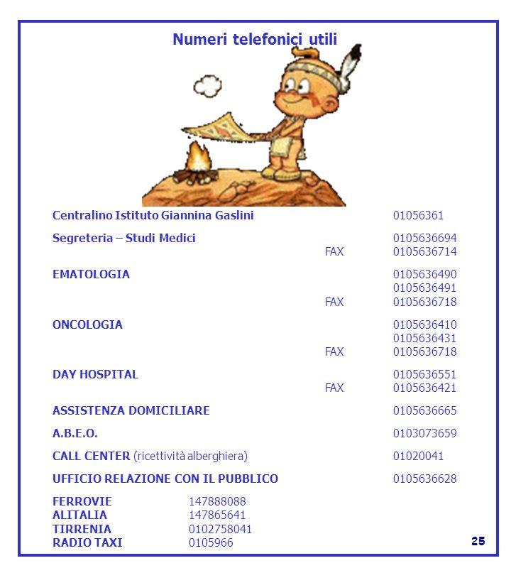 Numeri telefonici utili Centralino Istituto Giannina Gaslini 01056361 Segreteria – Studi Medici 0105636694 FAX0105636714 EMATOLOGIA 0105636490 0105636