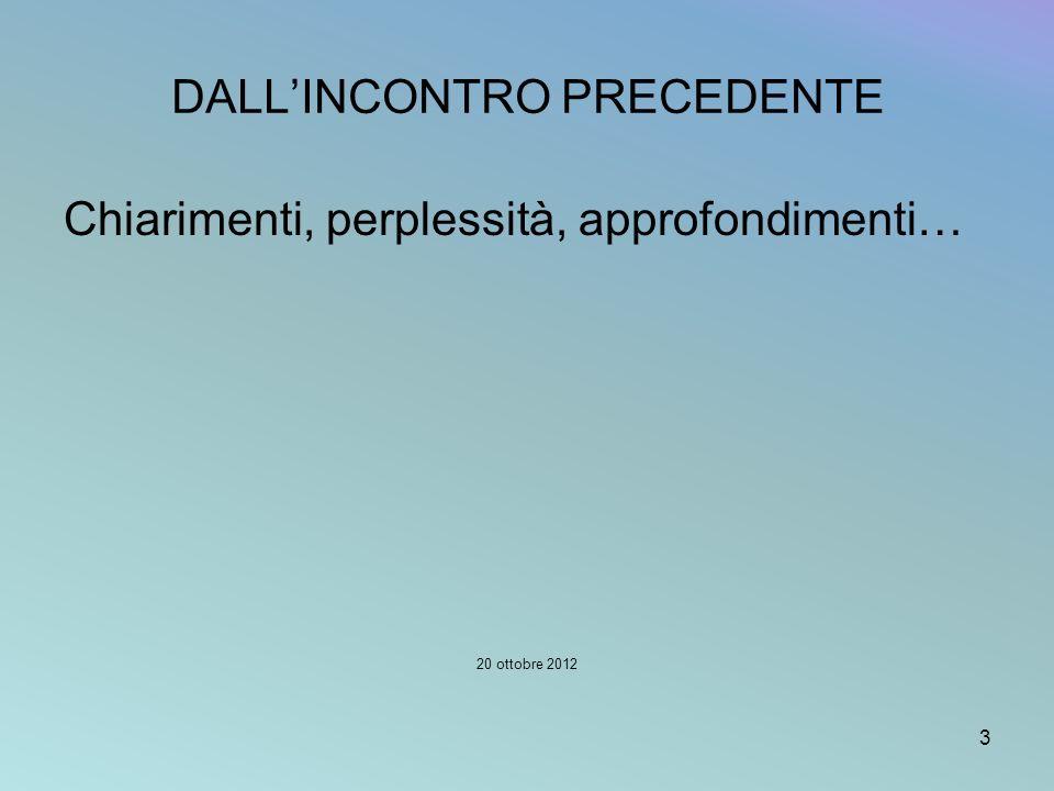 DALLINCONTRO PRECEDENTE Chiarimenti, perplessità, approfondimenti… 20 ottobre 2012 3