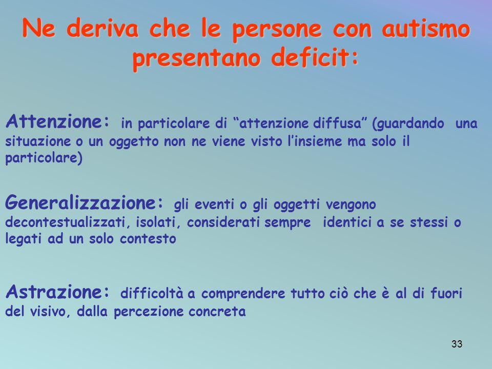 Ne deriva che le persone con autismo presentano deficit: Attenzione: in particolare di attenzione diffusa (guardando una situazione o un oggetto non n