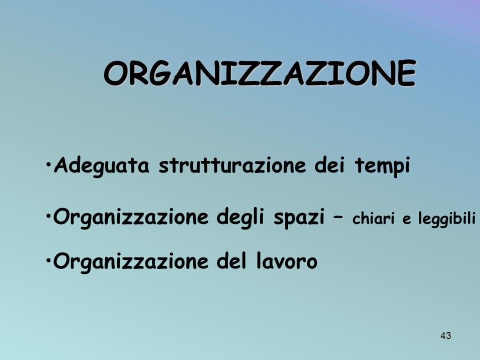 Adeguata strutturazione dei tempi Organizzazione degli spazi – chiari e leggibili Organizzazione del lavoro ORGANIZZAZIONE 43
