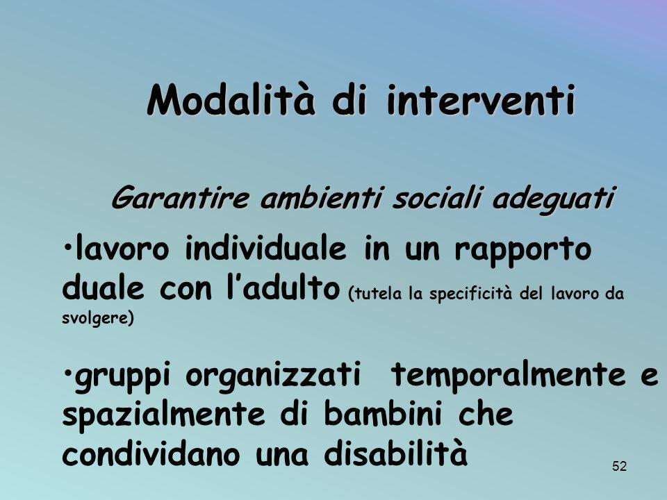 Garantire ambienti sociali adeguati gruppi organizzati temporalmente e spazialmente di bambini che condividano una disabilità Modalità di interventi l