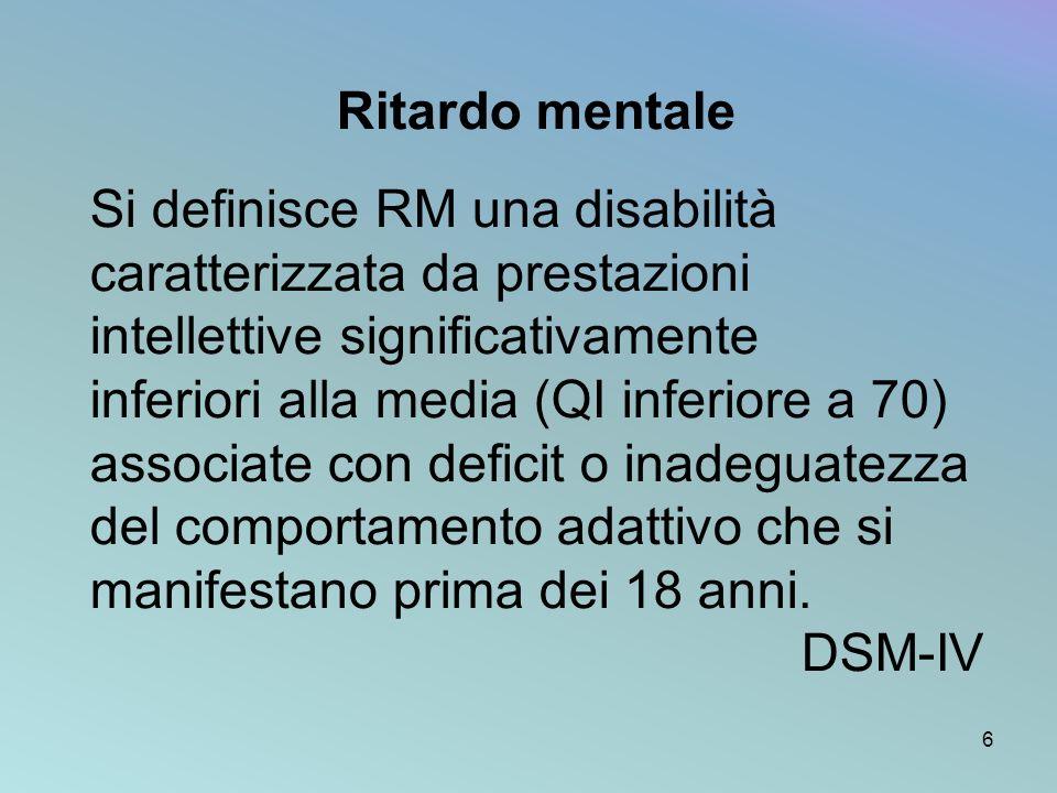 Ritardo mentale Si definisce RM una disabilità caratterizzata da prestazioni intellettive significativamente inferiori alla media (QI inferiore a 70)
