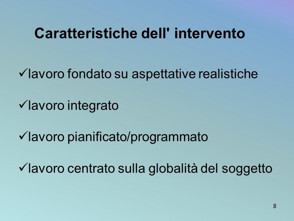 Caratteristiche dell' intervento lavoro fondato su aspettative realistiche lavoro integrato lavoro pianificato/programmato lavoro centrato sulla globa