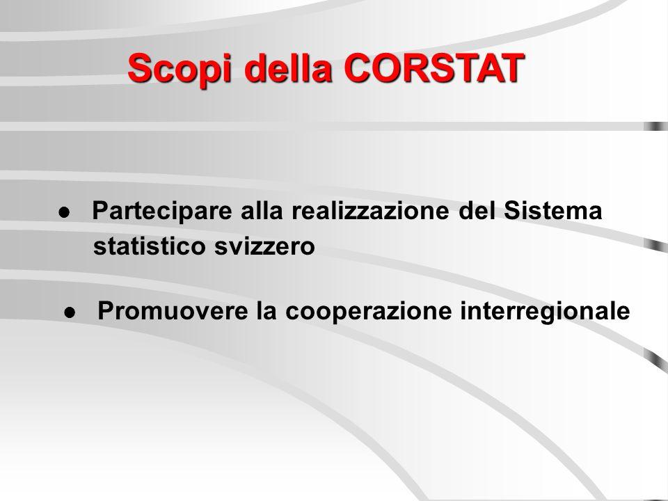Scopi della CORSTAT Partecipare alla realizzazione del Sistema statistico svizzero Promuovere la cooperazione interregionale