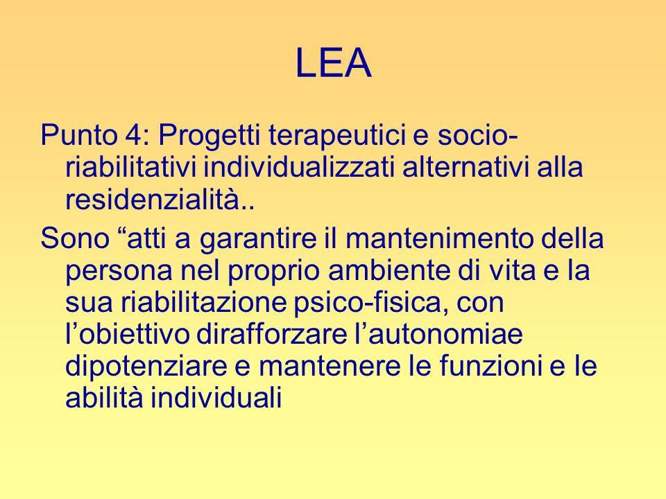 LEA Punto 4: Progetti terapeutici e socio- riabilitativi individualizzati alternativi alla residenzialità.. Sono atti a garantire il mantenimento dell