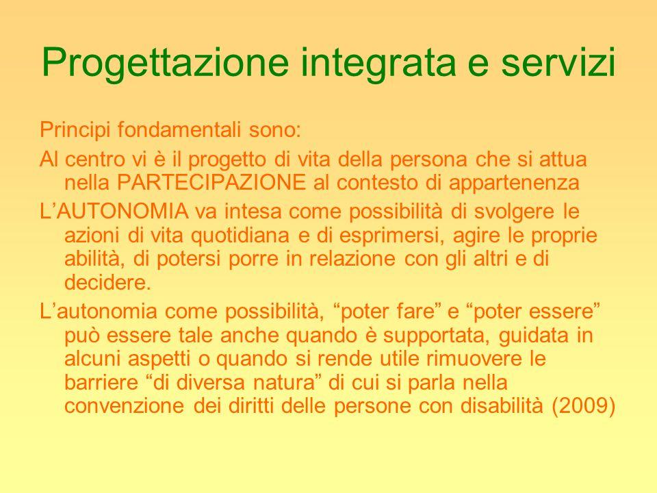 Progettazione integrata e servizi Principi fondamentali sono: Al centro vi è il progetto di vita della persona che si attua nella PARTECIPAZIONE al co
