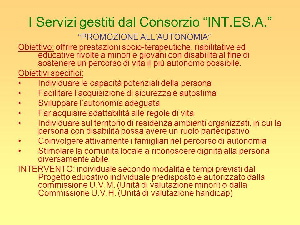 I Servizi gestiti dal Consorzio INT.ES.A. PROMOZIONE ALLAUTONOMIA Obiettivo: offrire prestazioni socio-terapeutiche, riabilitative ed educative rivolt