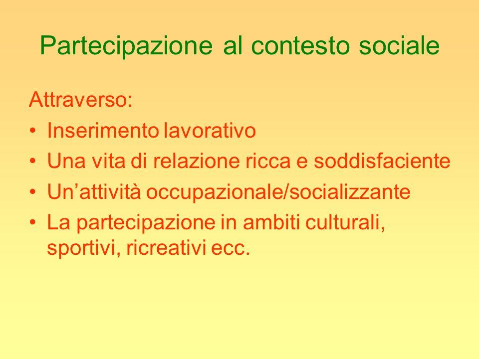Partecipazione al contesto sociale Attraverso: Inserimento lavorativo Una vita di relazione ricca e soddisfaciente Unattività occupazionale/socializza