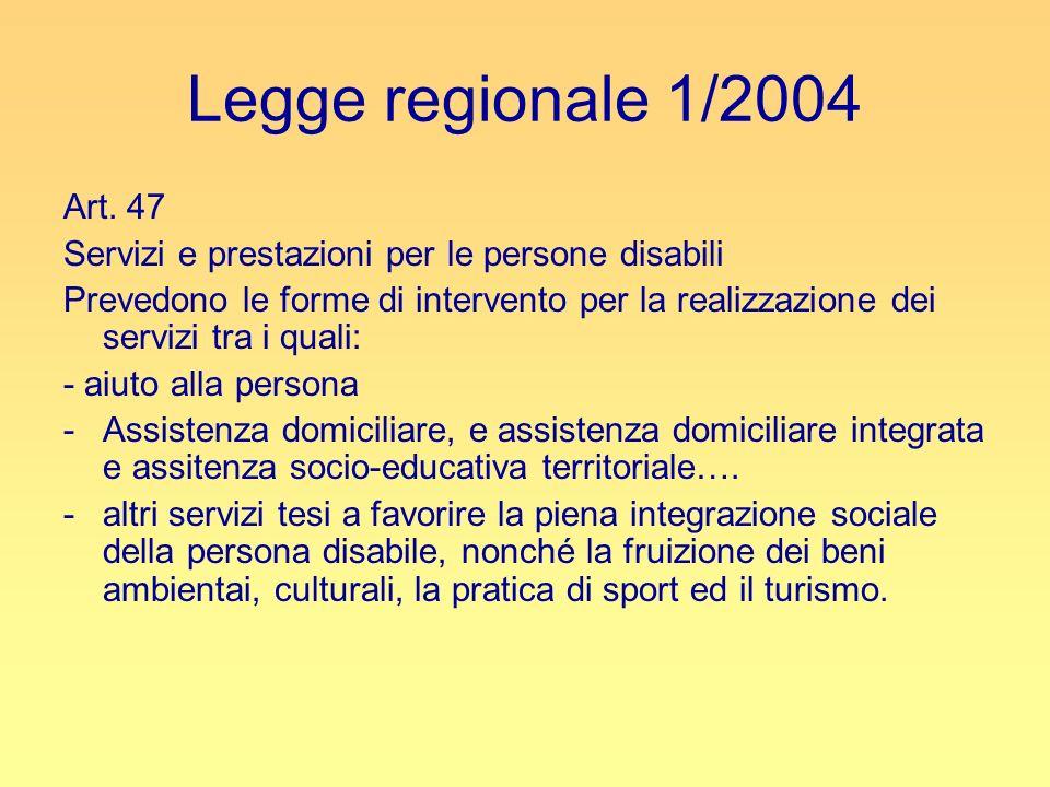 Legge regionale 1/2004 Art. 47 Servizi e prestazioni per le persone disabili Prevedono le forme di intervento per la realizzazione dei servizi tra i q