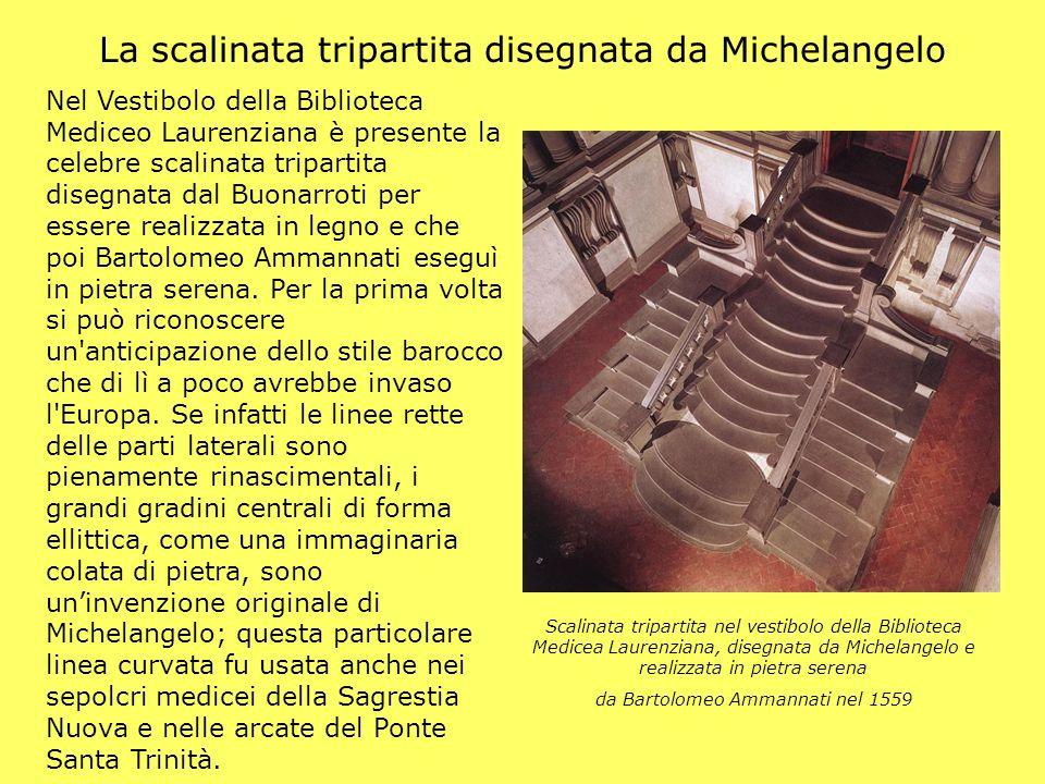 La scalinata tripartita disegnata da Michelangelo Nel Vestibolo della Biblioteca Mediceo Laurenziana è presente la celebre scalinata tripartita disegn